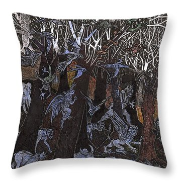 Asil In Shitaki Forest Throw Pillow by Al Goldfarb