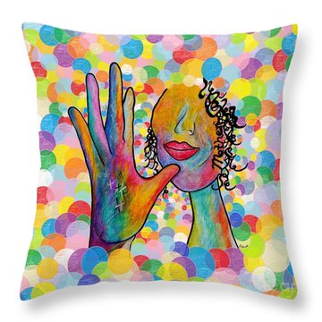 Asl Mother On A Bright Bubble Background Throw Pillow