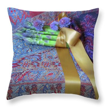 Throw Pillow featuring the photograph Asparagus And Cornflowers, Garden Blessings by Nancy Lee Moran