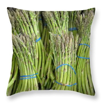 Asparagus Soldiers Throw Pillow by Kent Lorentzen
