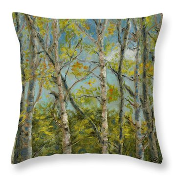 Aspen Glow Throw Pillow by Mary Benke