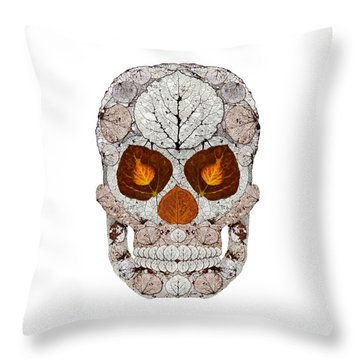Aspen Leaf Skull 11 Throw Pillow by Agustin Goba