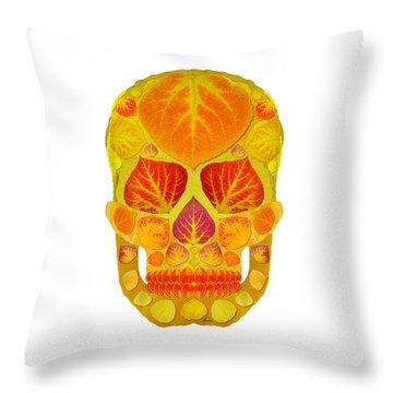 Aspen Leaf Skull 13 Throw Pillow by Agustin Goba