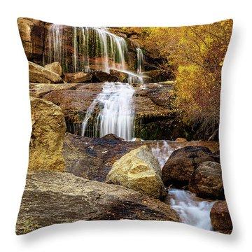 Aspen-lined Waterfalls Throw Pillow