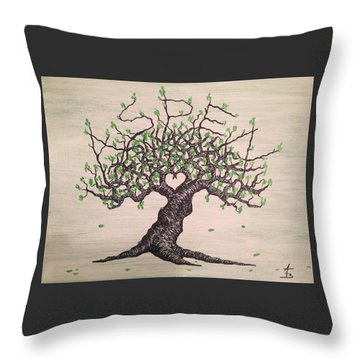 Throw Pillow featuring the drawing Aspen Love Tree by Aaron Bombalicki