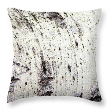 Aspen Tree Bark Throw Pillow by Christina Rollo