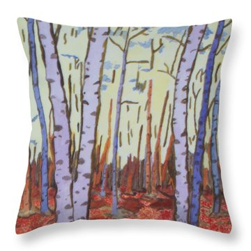 Throw Pillow featuring the painting Aspen Trees by Connie Valasco