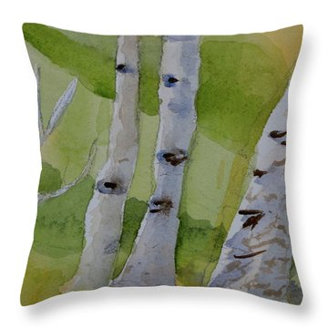 Throw Pillow featuring the painting Aspen Trunks by Beverley Harper Tinsley