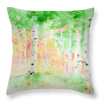 Throw Pillow featuring the painting Aspens by Andrew Gillette