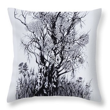 Throw Pillow featuring the drawing Aspens by Anna  Duyunova