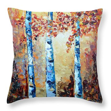 Aspens In Glow Throw Pillow