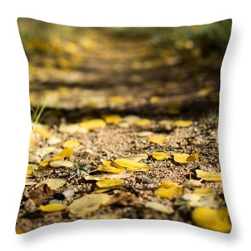 Aspen Leaves On Trail Throw Pillow