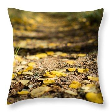 Aspen Leaves On Trail Throw Pillow