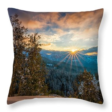 Aspens Sunset After Snowfall Throw Pillow