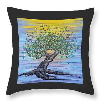 Throw Pillow featuring the drawing Aspire Love Tree by Aaron Bombalicki