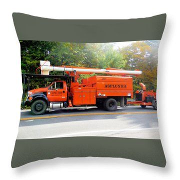 Asplundh Tree Expert Company Trucks Throw Pillow