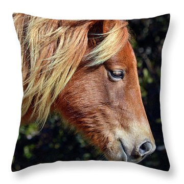 Assateague Horse Sarah's Sweet Tea Right Profile Throw Pillow