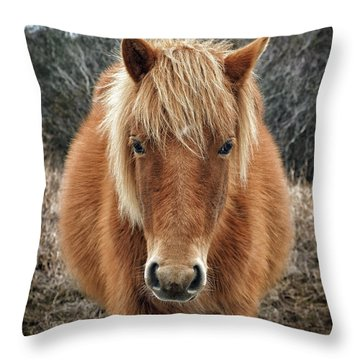 Assateague Island Horse Miekes Noelani Throw Pillow