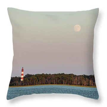 Assateague Light And The Full Moon Throw Pillow