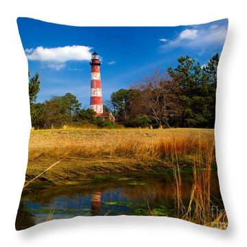 Assateague Lighthouse Reflection Throw Pillow by Nick Zelinsky