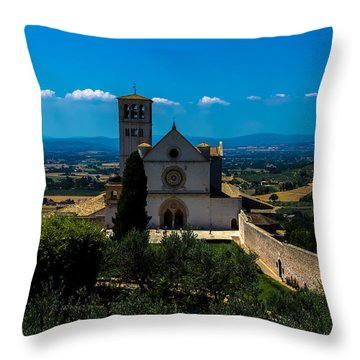 Assisi-basilica Di San Francesco Throw Pillow by Cesare Bargiggia