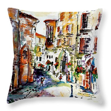 Assisi Italy Old Town Watercolor Throw Pillow