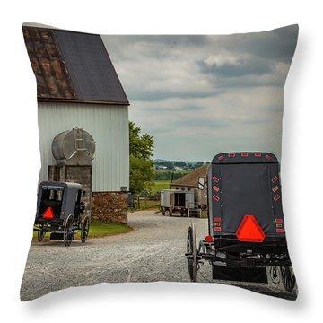 Assorted Amish Buggies At Barn Throw Pillow