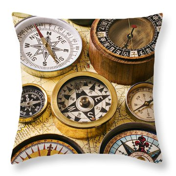 Assorted Compasses Throw Pillow by Garry Gay