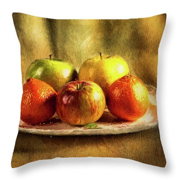 Assorted Fruits In A Plate Throw Pillow