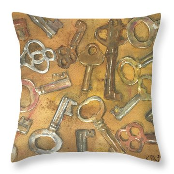 Assorted Skeleton Keys Throw Pillow by Ken Powers