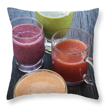 Assorted Smoothies Throw Pillow by Elena Elisseeva