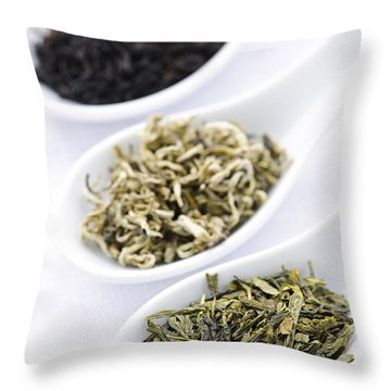 Assortment Of Dry Tea Leaves In Spoons Throw Pillow by Elena Elisseeva