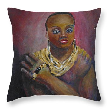 Throw Pillow featuring the painting Assured by Saundra Johnson