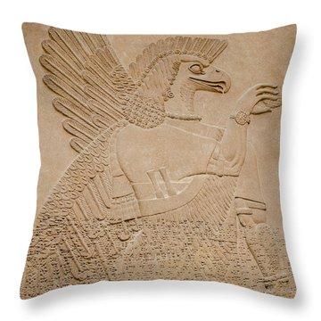 Assyrian Guardian Throw Pillow