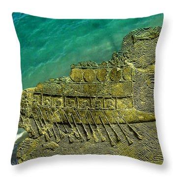 Assyrian Warship Throw Pillow