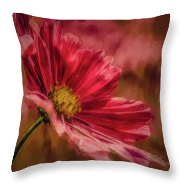 Aster Red Painterly #h1 Throw Pillow
