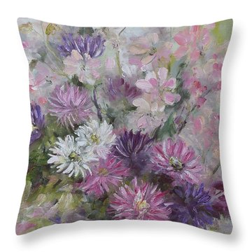 Asters And Stocks Throw Pillow