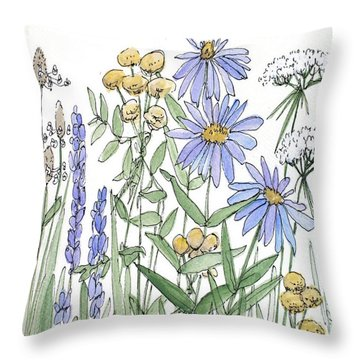 Asters And Wildflowers Throw Pillow