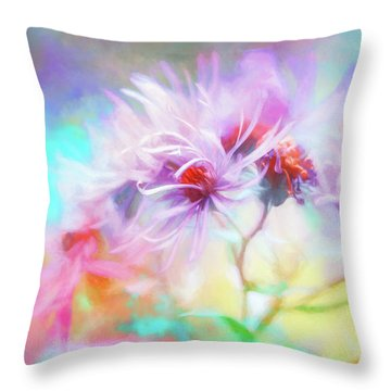 Asters Gone Wild Throw Pillow