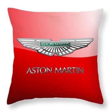 Aston Martin - 3 D Badge On Red Throw Pillow