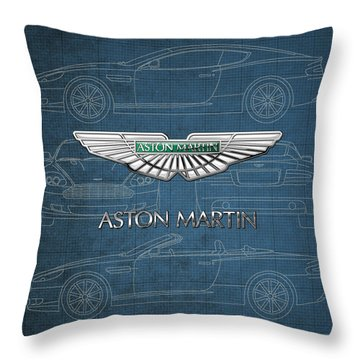 Aston Martin 3 D Badge Over Aston Martin D B 9 Blueprint Throw Pillow by Serge Averbukh