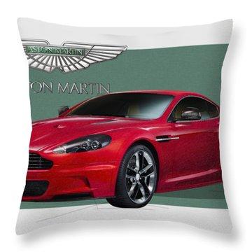 Aston Martin  D B S  V 12  With 3 D Badge  Throw Pillow