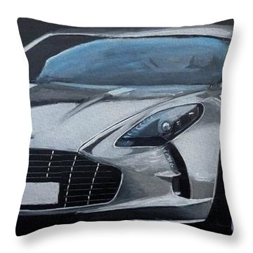 Throw Pillow featuring the painting Aston Martin One-77 by Richard Le Page
