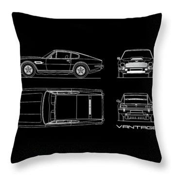 Aston Martin V8 Vantage Blueprint Throw Pillow