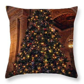 Throw Pillow featuring the photograph Astor Hall Christmas by Jessica Jenney