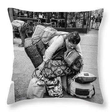 Bag Lady Throw Pillow