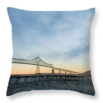 Astoria Megler Bridge By Riverwalk Panorama Throw Pillow