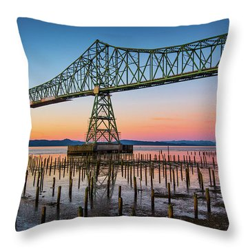 Astoria Megler Bridge Throw Pillow