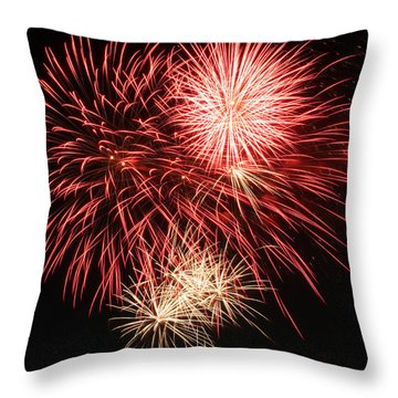 Throw Pillow featuring the photograph Astoria Park Fireworks 10 by Jim Poulos