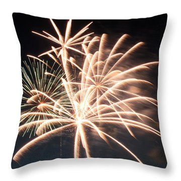 Throw Pillow featuring the photograph Astoria Park Fireworks 2 by Jim Poulos